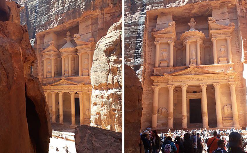 Trésor, porte de Petra, nouvelle merveille du monde, en Jordanie.