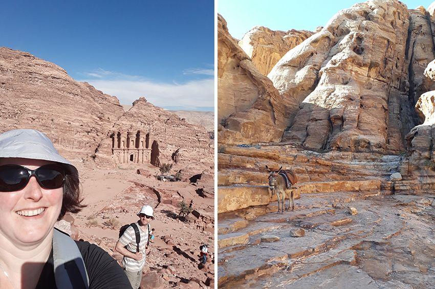 Randonnée à Petra autour du monastère, en Jordanie.