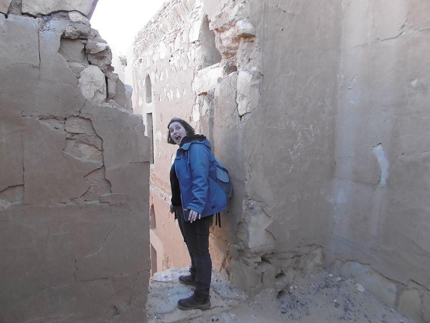 Intérieur du château du désert Qasr Al-Kharaneh en Jordanie.
