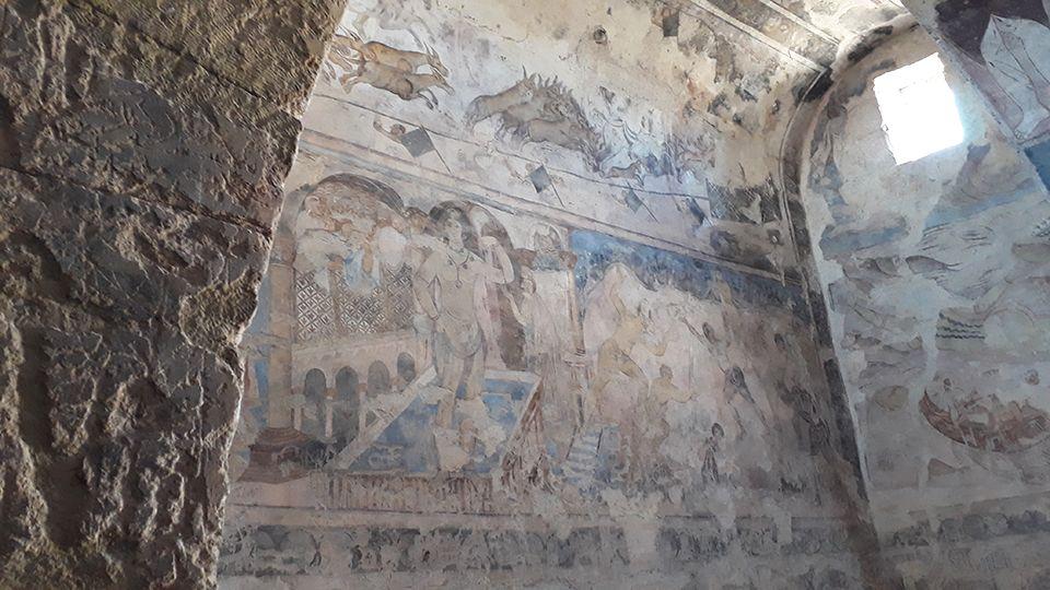 Fresque du Qasr Amra, château du désert en Jordanie.