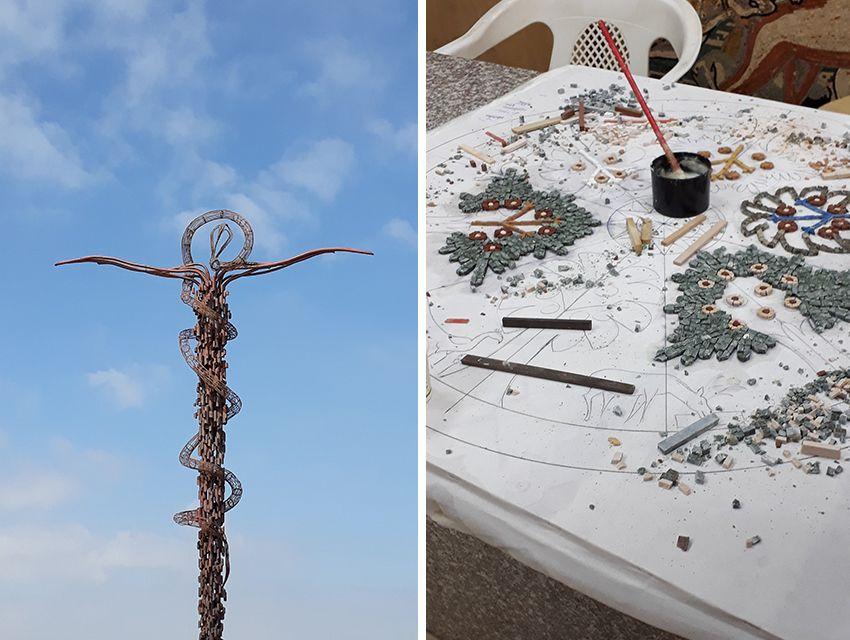 Sculpture sur le Mont Nebo et visite d'un atelier de céramique en Jordanie.