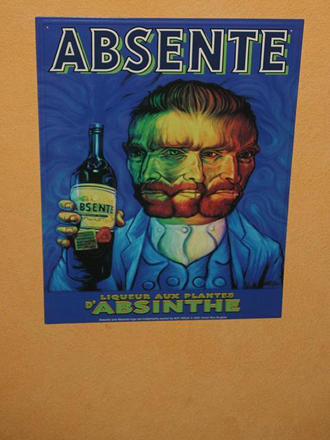 Affiche de Van Gogh à l'Absinthe bar d'Antibes.