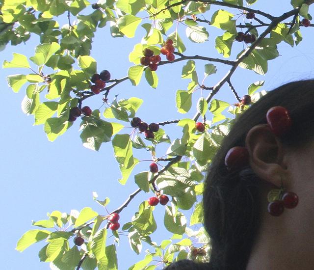 Boucles d'oreilles cerises, bijoux fantaisie Divine et Féminine