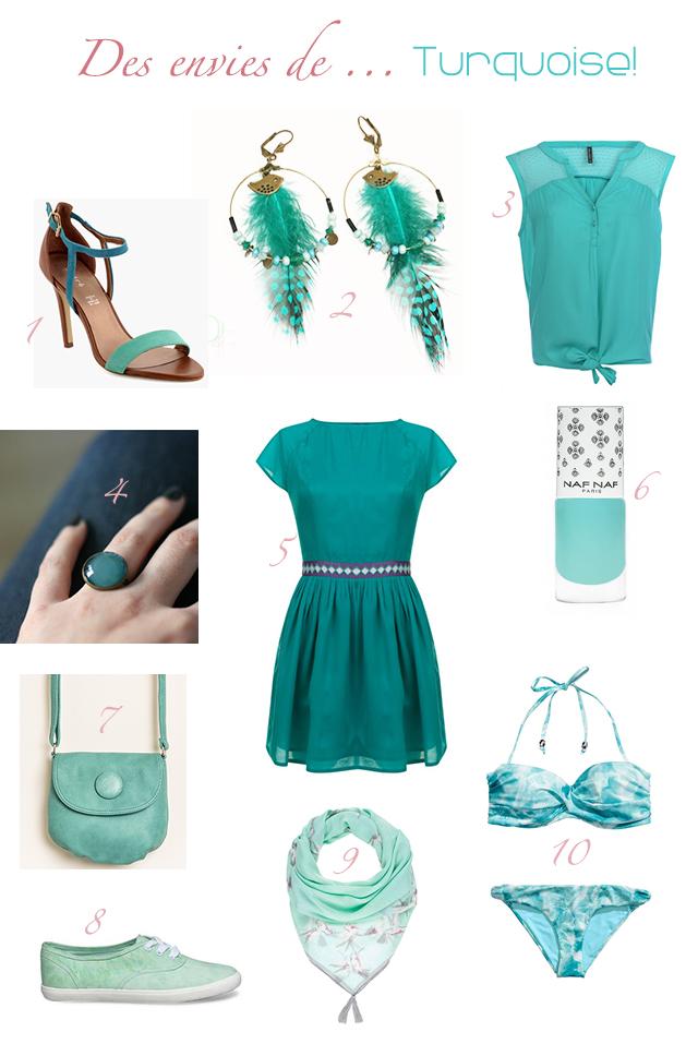 Une sélection mode composée de vêtements, accessoires et bijoux fantaisie sur le thème de la couleur bleue turquoise